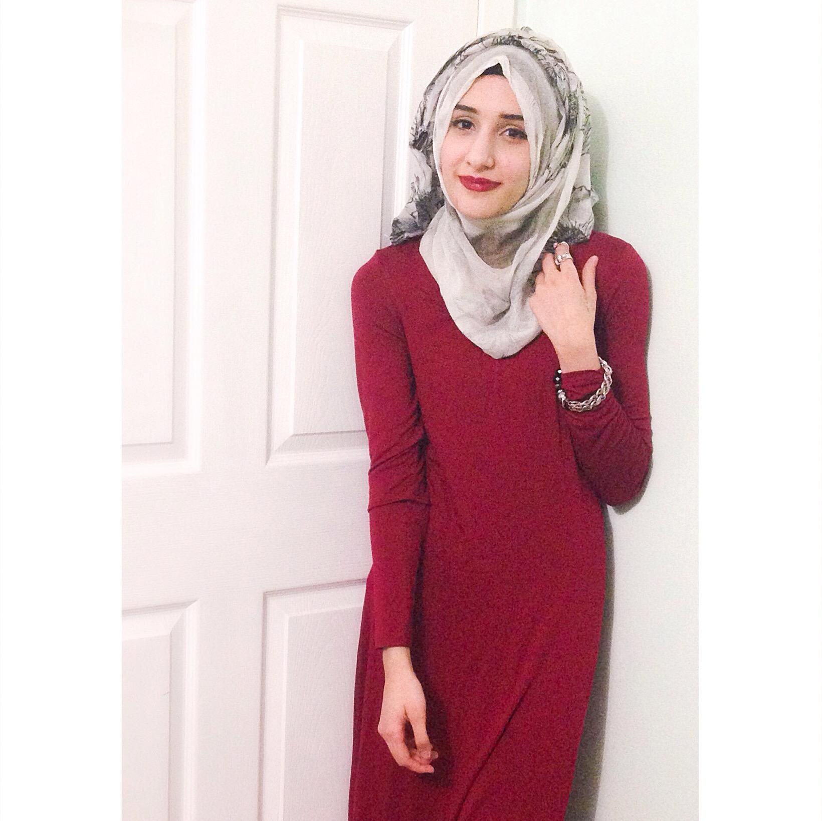 Long sleeve maxi dress maroon